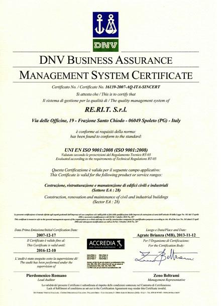 Certificato ISO 9001 Rerit costruzioni
